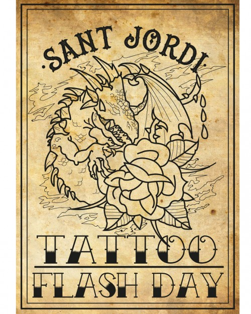 Día de Flash tattoo . Temática Sant Jordi.